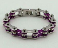 Ladies Stainless Steel W Crystals Motorcycle Bike Chain Bracelet Purple-Silver