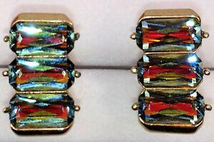 Vintage Swank Cufflinks Triple Rainbow Rhinestones Emerald Cut Signed Gold Tone