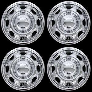 "4 CHROME 2010-2021 Ford F150 XL 17"" Wheel Skins Hub Caps 8 Slot Steel Rim Covers"