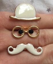Funny Mustache Beard Moustache Double Fingers Ring Adjustable Gift Jewellery
