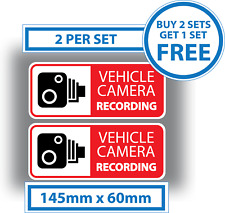 2 x Vehicle Camera Recording Stickers Dash Cam Video Warning Vinyl Decals Red