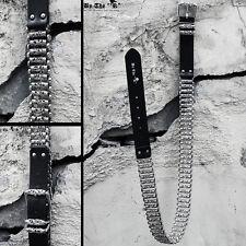ByTheR Men's Punk Fashion Black Unique Cain Silver Metal Studded Leather Belt