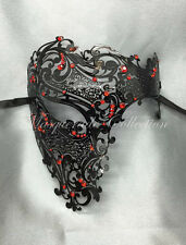 New Black Phantom Laser Cut  Masquerade Metal Men Skull Mask w/Red Rhinestones
