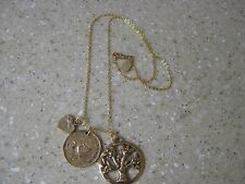 """Alisa Michelle , Gold Plated,  19"""" Family Tree Charm Necklace NWT"""