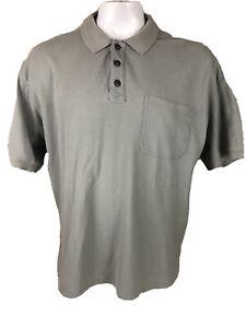 Duluth Trading Co Mens XL Gray Shirt Sleeve Polo Short Sleeve Pocket -T163