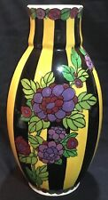"""Dramatic Vintage Charles Catteau Boch Freres 12"""" Signed Art Deco Pottery Vase"""