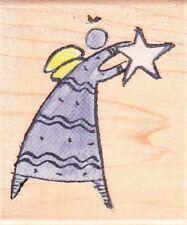 STAR ANGEL - Hampton Art Wood Mounted Rubber Stamp