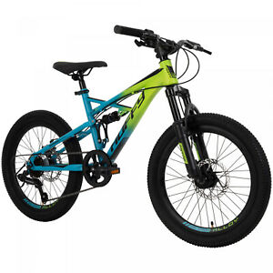 Huffy 20-inch 7 speed Suspension Oxide Boys Mountain Bike for Kids , Lime / Blue