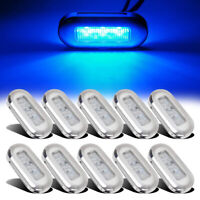 10x Marine Boat Blue LED Oblong Courtesy Light Stair Yacht Deck Clear Stainless