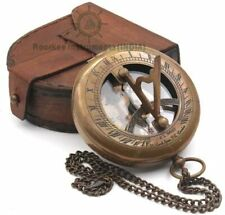 "Nautical Antique 3"" Brass Sundial Compass W Leather Case Working Compass Replica"