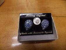 FASHION JEWELRY  JIMMY CRYSTAL EARRINGS SWAROWSKI CRYSTAL AQUA  TEAR DROP