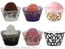 Lazer Cut Cupcake Wrappers - Filigree Delicate Lace Vine - Party Cake Decoration