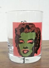 MARILYN MONROE TUMBLER DRINKING GLASS WITH ANDY WARHOL SIGNATURE  RED & GREEN