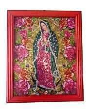 More details for our lady/virgin of guadalupe glittered retablo mexico religious icon kitsch #02
