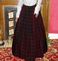 Ladies Victorian skirt  green and burgundyt tartan costume fancy dress Hogmanay