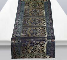 Indian Brocade Silk Peacock Blue Table Runner Kitchen Dining Decor Tablecloth !!