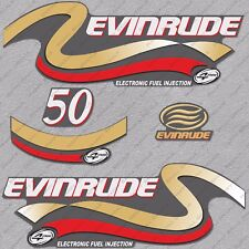 Evinrude 50 hp Four Stroke outboard engine decals sticker set reproduction Gold