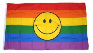 Fahne / Flagge Regenbogen Smile 90 x 150 cm
