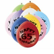 Pack of 10 Happy 65th Birthday Party Balloons Mixed Colours Air Fill Only