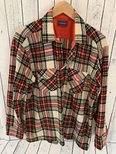 VTG TRADITIONALIST Wool Blend Plaid Long Sleeve Button Front Shirt Large B4