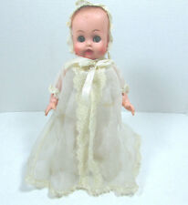 "Vintage 10.5"" Sleepy Eye Baby Doll In White Christening Gown C. Mid Century"