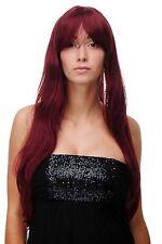 Perruque pour Femme Rouge Rouge Grenat Très Long Frange Raie Lisse 70cm 3111-39