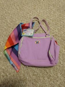Small New NWT Funky Flower Purple Webkinz Plush Pet Carrier By Ganz WE000157