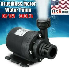 DC 12V Lift 5m 800L/H Ultra Quiet Brushless Motor Submersible Pool Water Pump US