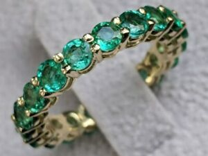 4CT EMERALD ETERNITY BAND ENGAGEMENT WEDDING CLASSIC RING 14K YELLOW GOLD PLATED