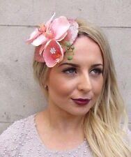 Rose Gold Light Pink Orchid Flower Sequin Fascinator Teardrop Hair Clip Hat 2975