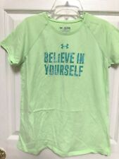 Girl's Under Armour HeatGear Loose Fit Green Believe in Yourself Tee Shirt XL