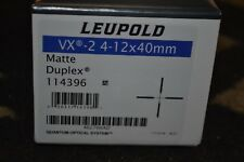 Leupold VX-2 4-12x40mm Matte Rifle Scope Duplex Reticle NIB 114396