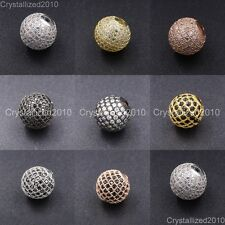 Cubic Zirconia Pave Round Disco Ball Bracelet Connector Charm Beads Silver Gold