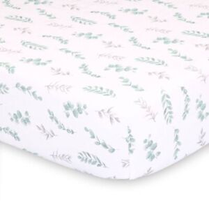 "THE PEANUTSHELL Farmhouse Floral Leaves Fitted Crib Sheet | 52"" x 28"" 