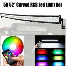 """5D 52"""" RGB CREE LED Curved Light Bar MultiColor Offroad Driving 54 Bluetooth APP"""