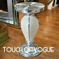 Silver VENETIAN Mirrored Table Modern Flower Stand Bed Side Lamp Romany Mosaic u