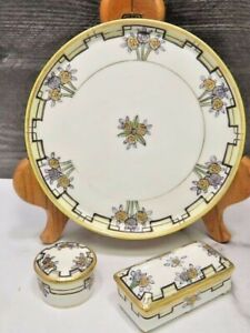 Antique Nippon Dresser Vanity Set Round Rectangular Trinket Boxes Plate Tray