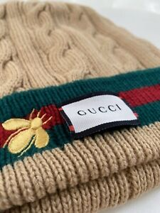 Gucci Cable Knit Beanie Hat Tan w/ Fur Lined Interior Bee Embroidery Size M