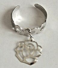 New Silver open heart toe ring with rose flower charm costume jewellery