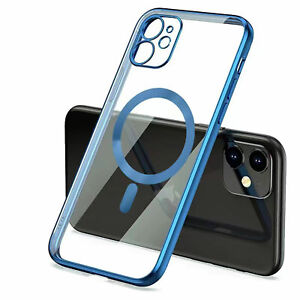 For iPhone 13 PRO MAX/13 12mini Mag Safe Cover Clear Plating Magnetic Hard Case