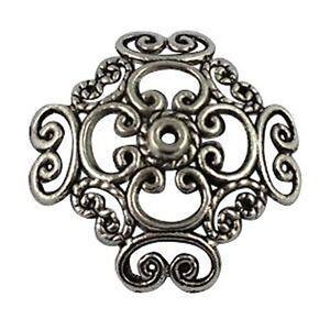 15Pcs Tibetan Silver Spiral Heart Bead Caps T12607