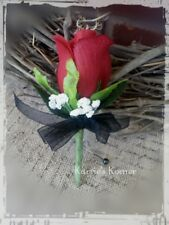 Red Silk Rose Boutonniere/Pin - Groom/Groomsman - Wedding-Celeb-Prom-Black Bow