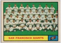 1961 Topps #167 Giants Team EX-EXMT Willie Mays Cepeda McCovey  FREE SHIPPING