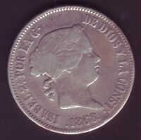 Monete 50 Centesimi di Peso Isabel II - Anno 1868 - Manila (Filippine