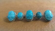 Antique Egyptian Revival 800 Silver Scarab Beetle C Clasp Pin Brooch.