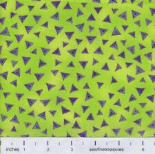 Laurel Burch Basics Purple TRIANGLE LIME Green Metallic Fabric By the FQ 1/4 YD