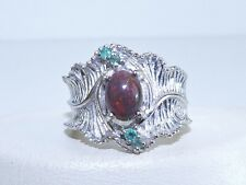 GENUINE 1.04tcw! Brazilian Emerald & SOLID Aust. Black Opal Ring S/Silver 925