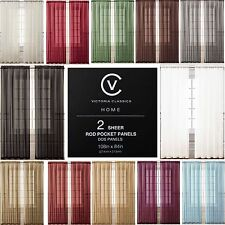 """Two (2) Sheer Rod Pocket Window Curtain Panels: 108"""" x 84"""", 12 Colors Available"""