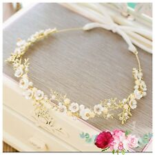 Bridesmaid Bridal Flower Gold Ivory Vintage Style Pearl Crystal Hair Piece Tiara