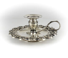 Portuguese .916 Silver Chamberstick High Floral Relief, 19th Century